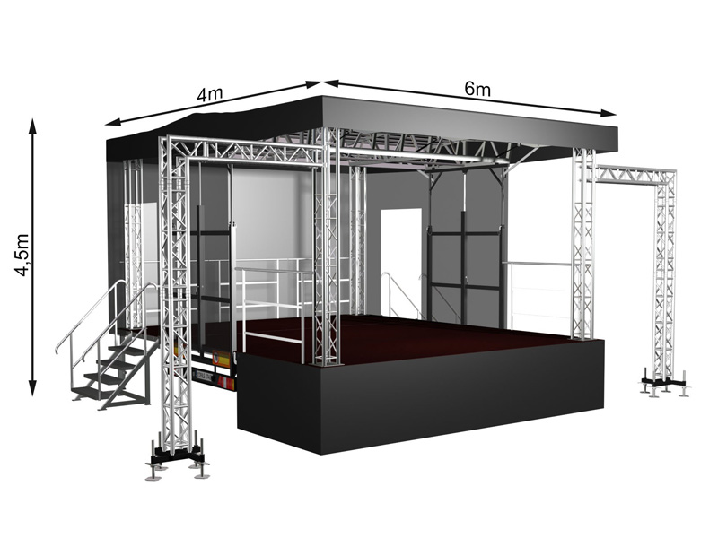 Mobile Stage with a flat roof